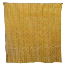 French, 19th Century Golden Yellow Provencal Boutis/Quilt Called Vanne Jaune Raye
