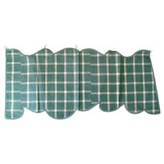 French, 19th Century, Green and White Plaid Silk Lambrequin / Valance