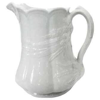 """Large English """"Ceres"""" White Ironstone Pitcher with Wheat and Clover Design"""