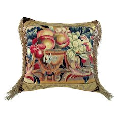 French 18th century Beauvais tapestry fragment Pillow depicting fruit & urn