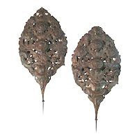 Pair of Belgian 18th Century Brass Repoussé Flame Shield Reflectors