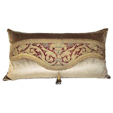 Italian 17th Century Amice Pillow Embroidered with Silk and Metal Threads