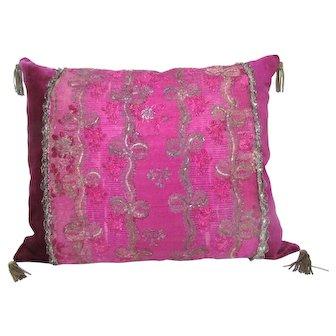 A Vivid Louis XVI, mid-18th Century Silk Brocade Pillow with Silver Gilt