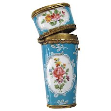 French, 19th Century Samson Gilt-Metal and Enamel Sewing Etui