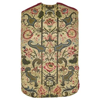 Italian Chasuble Front with Embroidered Threads, 1700's