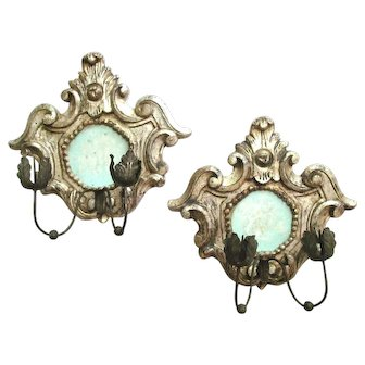 Pair Italian 19th Century Silver Leaf Candle Sconces