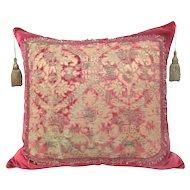 Italian Silk Velvet 400-year-old Fragment Pillow with Silver Metal Thread