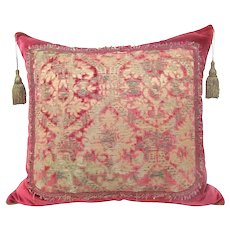 Italian Silk Velvet 400-year-old Fragment Pillow with Silver Metal Thread
