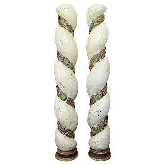Pair of Spanish Late Baroque Solomonic or Barley Twist Columns