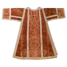 Italian 18th Century Stamped Silk Velvet Dalmatic Vestment