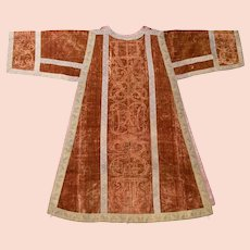 Italian 18th Century Stamped Silk Velvet Dalmatic Vestment