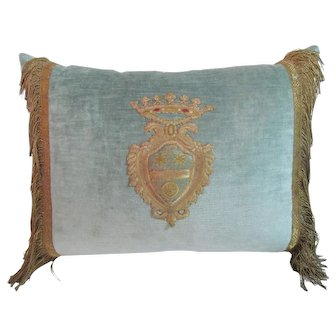 Antique Italian 18th Century Pillow with Silk Crest with Flowers and Rare Wheel