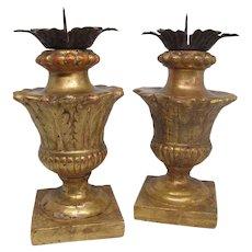 Pair Antique Italian 18th Century Gilt Wood Pricket Candlesticks