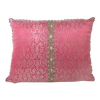 Antique Italian 19th century Silk Brocade with Silver Metallic Threads Pillow