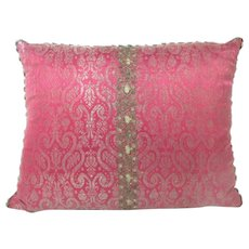 Antique Italian 19th century Silk Brocade with Silver Metallic Threads Pillow