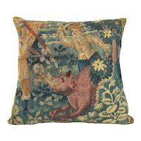 Flemish, 17th Century, Tapestry Fragment Pillow depicting two Hunters and a Boar