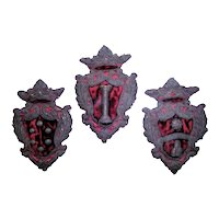 Trio of Italian 19th Century Crests, Coat of Arms, Armorial