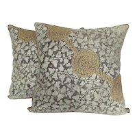 """Italian Pair Fortuny Pillows 1920s """"Clamys"""" Design in tightly Woven Twill with Knot Motif"""