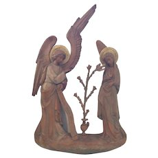 Hand Carved from Italy the Angel with Mary Immaculate Conception