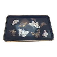 Mid Century Hand painted Signed by the artist Black Laquer Butterfly Tray