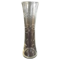Hand Blown Hand Etched Edwardian Vase