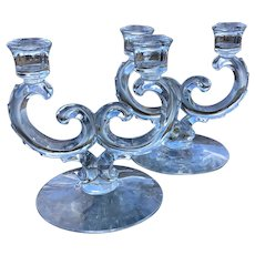 Set of Beautiful Fostoria Double Candlesticks