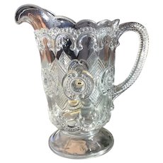 Rare Unusual EAPG Bullseye and Fleur de Lis Pitcher