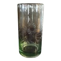 Hand Etched Green Glass
