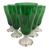 Set of 6 Fostoria Colonial Dame Forest Green Iced Tea/Water Glasses