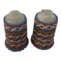 Paiute Beaded Salt and Pepper Shakers with Buckskin Bottoms