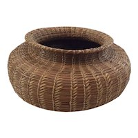 Antique Pineneedle Basket with Wooden Bottom