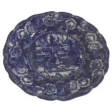 """Mr. Pickwick in the Pound by Ridgway Flow Blue 10"""" Dinner Plate"""
