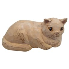 Hand Carved Hand Painted Cat signed by the artist
