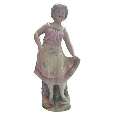 Victorian German Figurine of Girl with Pleated Skirt