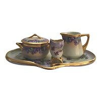 Rosenthal Art Nouveau Sugar Bowl, Creamer, Egg Cup, and Tray