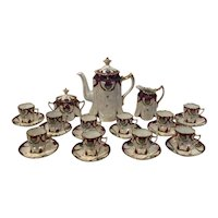 Ginori Tea Set Art Nouveau Teapot, Sugar bowl, Creamer and 10 Demitasse Cups and Saucers