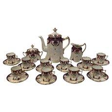 Ginori Tea Set Art Nouveau Teapot, Sugar bowl, Creamer and 10 Demitasse Cups and Saucers