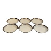 Set of 6 Limoges Bowls with Hand-painted Platinum Trim