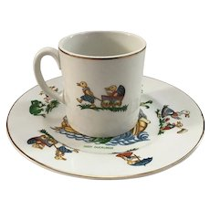 N. S. Pottery Plate and Cup Dizzy Ducklings England