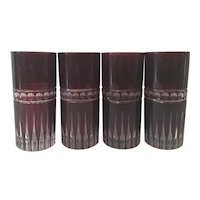 Set of 4 Bohemian Cut to Clear Ruby Tumblers