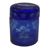 Cut to Clear Cobalt Bohemian Glass Trinket Box