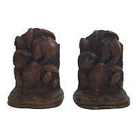 Syroco Wood Floral Bookends