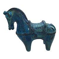 Mid Century Modern Art Pottery Rimini Blu Bitossi Horse