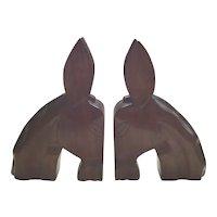 Mid Century Hand Carved Mahogany Donkey Bookends My