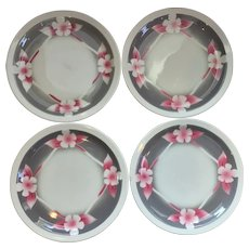 Set of 4 Airbrushed Restaurant Ware Plates by Sterling