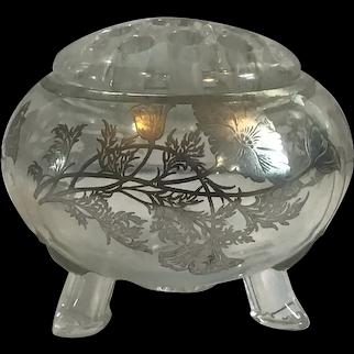 Viking Crystal Glass Flowerlight Flower Frog Vase with Silver Overlay