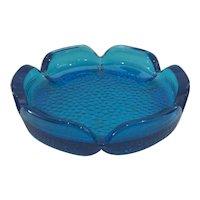Blue Blenko Flower Shaped Bowl/Ashtray