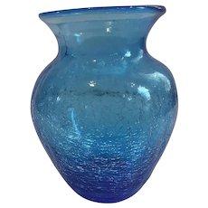 Blenko Blue Crackle Vase