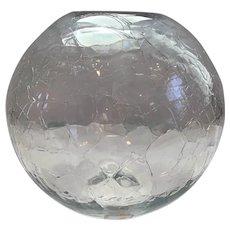 Blenko Clear Crackle Sphere Vase