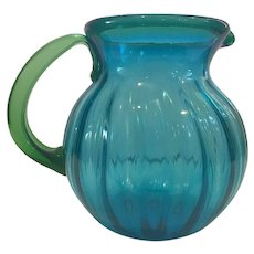 Blenko Fluted Pitcher with Green Handle and Lip Trim